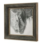 Farmhouse Inspired 32 Horse Print Aged Wood And Metal Frame Wall Art Under Glass