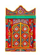 Paint Furniture Morocco Mirror Red Rustic Mirror Decor Hand Painted Antique