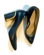 Pumps In Royal Navy Tone Leather 8cm Gold Metal Lined Block Heel Size37
