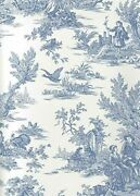 Blue And Soft White Colonial Toile Sure Strip Wallpaper At4229