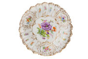 Antique Rare Original Germany Meissen Porcelain Plate With Flowers Marked