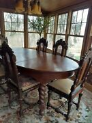 Antique Jacobean Revival Dining Room Table And 6 Chairs