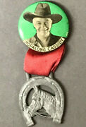 C.1950 Vtg Hopalong Cassidy Pin-back Button With Orig. Ribbon And Horeshoe Xhc9