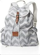 Victorias Secret Vs Pink Limited Edition Chevron Silver White Sequin Backpack