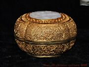 Pure Silver 24k Gold Gilt Hetian White Jade Jewelry Trinket Box Pot Canister