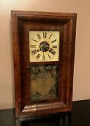 Terry And Andrews Clock Mantle Shelf Mahogany Wood Painted Dial Glass Antique