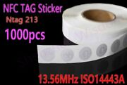1000pcs /lot Nfc Ntag213 Tag Sticker 13.56mhz Iso14443a Nfc Tags 25mm Stickers