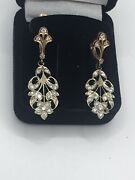 Russian Vintage White And Pink 583 K - 14 K Gold Diamonds Earrings