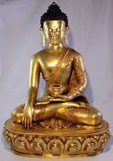 Nepalese Handcrafted Buddha 24k Gold Gilded Copper Statue13 Inches