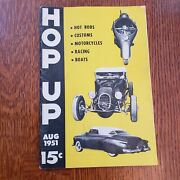 1951 August Hop Up Magazine Hot Rods Cars Customs Motorcycles Racing