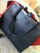 Fendi 3jou Black With Red Interior Calfskin Leather Tote