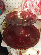Stunning Ruby Red 2 Tiered Serving Made W/ Antique Glass Dishes
