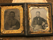 9th Plate Tintype Of Us Artillery Soldier And An Image Of His Wife Cased