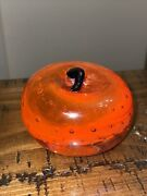 Murano Art Glass Controlled Bubble Cased Orange And Blue Stem 3 Apple Paperweight