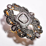 Antique Diamond Victorian Polki Jewelry 925 Sterling Silver Engagement Rings