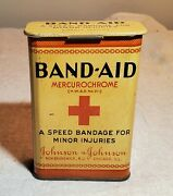 Vintage Band-aid Mercurochrome Johnson And Johnson Tin Container With Attached Lid