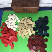 Antique Vintage Clay And Paper Poker Chips Leather Handled Box Lock Huge Lot 479