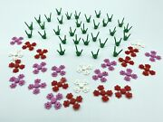 100 Real Lego Red Pink White Green Plant Flower 56 Piece Lot 3741 3742c01