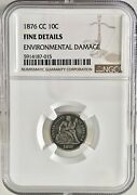 1876 Cc 10c Seated Liberty Dime Ngc Fine Details