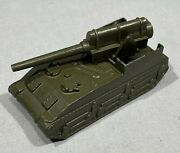 Vintage Midget Toy Cast Iron Army Tank W/moving Turret 1950and039s
