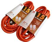 2 Pack 15-foot 12 Gauge Extension Cord Ul Lit End 3 Wire 12/3 Heavy Duty Ft