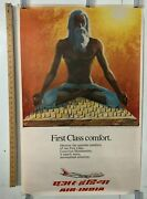 Vintage Poster Air India Hatha Yoga First Class Comfort World Travel Icons