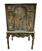 Antique 1920s Chinoiserie Asian Painted Pagoda Scenic Bar Cabinet Armoire Chest