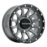 Raceline A95sg Trophy 17x7 4x137 Et10 Stealth Grey Simulated Beadlock Qty Of 4