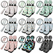 Cartoon Animals Car Seat Covers 10 Pcs Full Set With Seat Belt Covers Keychain