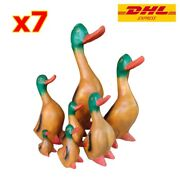 Set Ducks Family Carved Hand Painted Wooden Home Decoration Home Wood Carving