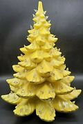 Rare And Vintage Yellow / Gold 19 Ceramic Tabletop Christmas Tree W/ Lights