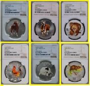 2002-2008 China Lunar 6 Oz Colorized Silver 6 Coins Prfct Rare Ngc Pf 70 Uc