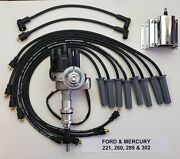 Ford 289 302 Small Female Cap Hei Distributor +60k Coil + 8.5mm Plug Wires Black