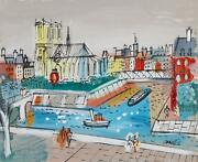 Charles Cobelle Notre Dame With Bridge 2 Acrylic On Canvas Signed Lower Right