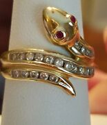 Vintage 14k Yellow Gold Genuine Diamond And Ruby Eyed Snake Wrap Ring- Size 7