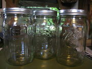 3 Wide Mouth Ball Glass / Clear Mason Jars Quart New Canning Kitchen