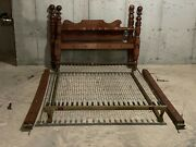 Antique Mid 19th Century Cannonball Bed Frame Red Paint W/steel Spring Mattress