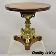 Antique French Empire Bronze Figural Swans Paw Feet Pedestal Base Low Side Table