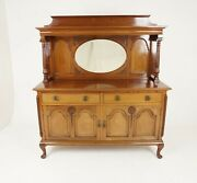 Antique Mahogany Sideboard, Mirror Back, Carved Art Nouveau Buffet, 1920s, B2195