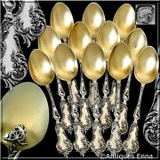 Soufflot French Sterling Silver 18k Gold Tea Coffee Spoons Set 12 Pc Rococo