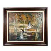 Oil On Canvas Landscape Painting Mallard Ducks Flying Signed Bruce 24 In X 20 In