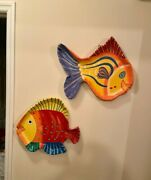 Large Pair Of Brilliant And Colorful Paper Mache Fish-shaped Caribbean Wall Art