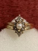 10 Kt Yellow 2.2 Grams Gold Culture Pearl Ring / Anillo Scrap Or Wear Size 6