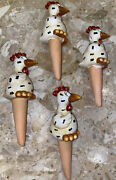 4 Ceramic Indoor Plant Garden Chicken Spike Plant Self Watering Stake Country