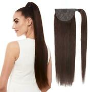 Long Silk Straight Ponytail Clip In Wrap Around 100 Real Human Hair Extensions
