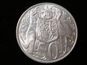 Australian 1966 Round 50 Cents Silver Coin Double Bar Variety Jr Lot 7