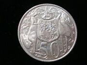 Australian 1966 Round 50 Cents Silver Coin Double Bar Variety Jr Lot 9