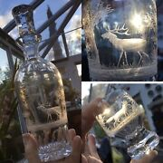 Rare Moser Rowland Ward Queen Lace Decanter Engraved Hunting Animals Stag Set🎁