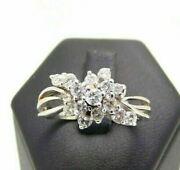 Vintage Ring Years 70 In White Gold Solid 18k With Natural Diamonds 095 Ct