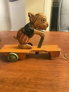Ex Condition J Chein Bonzo The Dog Tin Litho Pull Toy Scooter